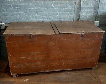 Primitive Country Firewood Box Trunk Rustic Farmhouse Mud Room Hamper  Laundry
