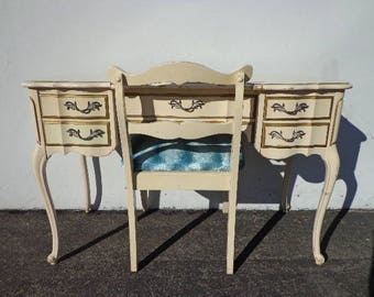 Desk French Provincial Writing Chair Hollywood Regency Set Vanity Shabby Chic Desk Dresser Table Laptop Stand Bohemian CUSTOM PAINT AVAIL
