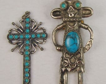 Vintage Sancrest Faux Turquoise Kachina Bolo and Cross Pendant