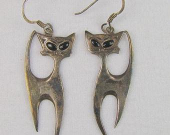 Sassy Sterling Siamese Cat Dangle Earrings