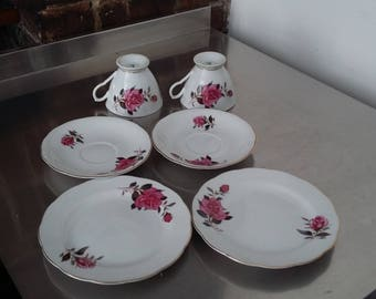 2 Pair Vintage Bone China Cup and Saucer Plates Pink Rose trio