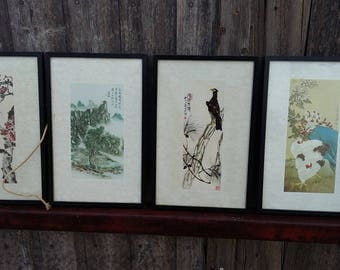 Set of 4 Oriental  Prints Birds Trees and Plants