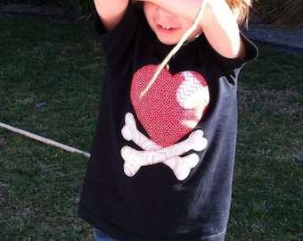 Valentine's Day heart and crossbones t-shirt