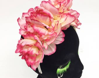 Dead Stock Sale! Bright Pink Peony Flower Crown Headband