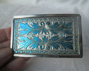 Vintage Silver Belt Buckle with Turquoise Enamel Accents