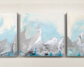 Light Blue Triptych Painting Acrylic on Wood