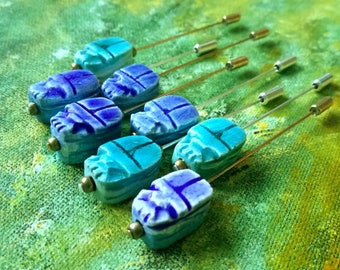 Egyptian scarab beetle jewellery, silver or gold stick pin, lapel pin, hijab pin or hat pin. Perfect Egyptology or archaeology present.