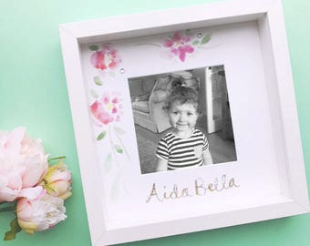 Personalised girls frame with hand painted watercolour flowers and a name in gold glitter. A new baby/christening gift- free photo printing