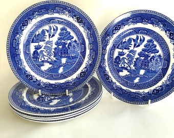 Blue & White Transferware Blue Willow Pattern 9 inch Lunch Plates 6 Available Vintage Hampton Style Traditional Dining