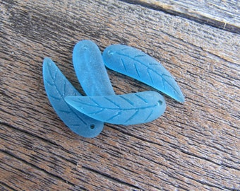 Sea Glass Leaf 32mmx10mm Pacific Blue Pendant