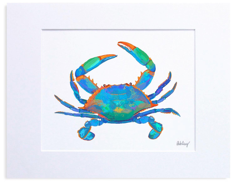 blue crab digital watercolor print illustration