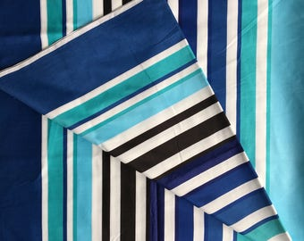Vintage STRIPED turquoise navy blue sateen cotton fabric 3m x 1.2m