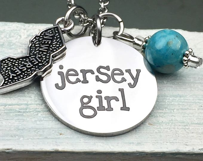 Jersey Girl Charm Necklace, garden state, New Jersey, down the shore, Bruce, Pork roll, parkway, turnpike, pizza, bagels, attitude
