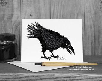 Crow Greeting Card, Halloween Card, Raven Card, Happy Halloween, Crow note card, Gothic Card, Birthday Card, Thank you card, Blank Card