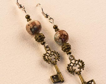 Bronze And Mint Key Earrings