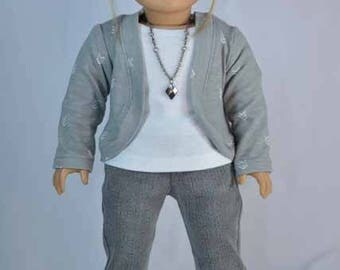 American Girl or 18 Inch Doll JEANS Pants in Gray with JACKET Cardigan TANK Top and Necklace