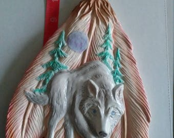 Feather with wolf wall hanger
