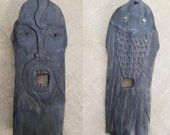 double-sided mask of bog oak