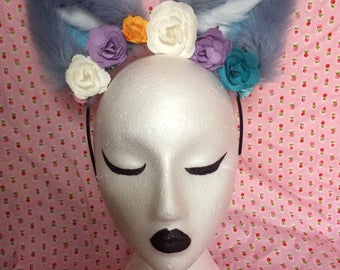 Baby Blue Cat Ears with flowers - Cosplay ~ Kawaii ~ Furry