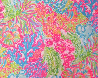 "16"" x 25"" Lilly Pulitzer Multi Lovers Coral Cotton Dobby Fabric  c"