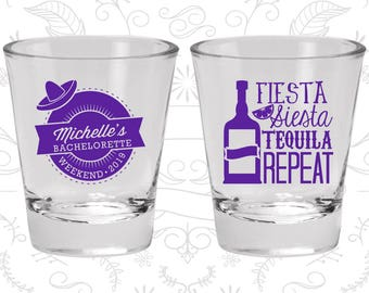 Bachelorette Shot Glasses, Bachelorette Party Favors, Bachelorette Party Shot Glasses, Fiesta Siesta Tequila Repeat (C60004)