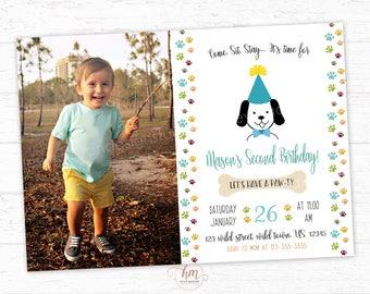Doggie Invitation, Puppy Invitation, Puppy Dog Birthday Party Invitation, Pawty, Dog Invitation, PRINTABLE FILE
