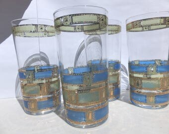 4 1960's Signed Culver Empress High Ball Glasses - 22K Gold and Blue