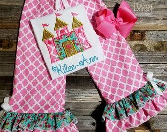 Castle Princess Birthday Shirt or Ruffled Pants, Shorts, Skirt Outfit
