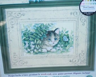 """Dimensions counted cross stitch matted accents kit #6957 """"Kitten and Butterfly"""" sealed"""