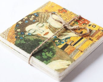 "Wooden coasters ""The Kiss"" Klimt, Coasters Klimt, Coasters, Art Coasters, set of 2, home decor, decoupage coasters, handmade coasters, Klimt"