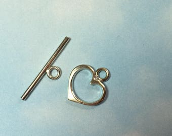 Toggle Clasp Sterling Silver Heart 14 mm New