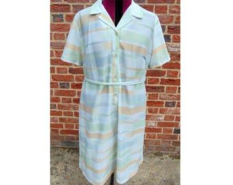 Vintage Day Dress/Mod Dress/Rockabilly Dress/1960s Dress/Sixties Dress/60s Dress/Striped Dress/Button Up Dress/Scooter Dress/UK 22