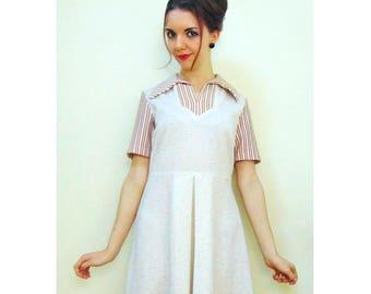 Vintage Mod Dress/60s Dress/70s Dress/Northern Soul/Scooter Dress/Pleated Skirt/Striped Dress/Flecked Dress/Vintage Day Dress/UK 12/UK 14