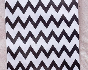 ON SALE - 15% OFF 12 Designer Black Chevron Paper Bags - Additional Items Ship Free!!!