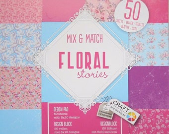 "Block 50 sheets 15 x 15 cm ""Floral stories"" scrapbooking"