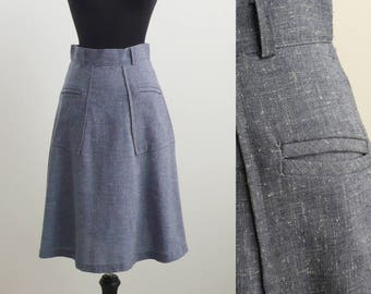 Vintage Blue Below Knee Skirt