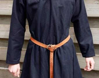 Viking tunic wool dark blue herringbone