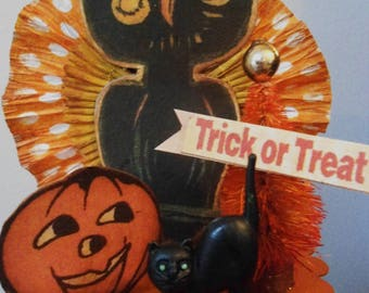 Vintage Inspired Halloween Owl Candy Container, Owl, Candy Box, gift box, Candy Cup, Bottle Brush Tree. Cat, Crepe paper rosette, Pumpkin
