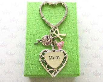 Personalised mum keyring - Birthday gift for mum - Mother's Day gift - Yarn ball keyring - Knitting gift for Mum - Yarn ball keychain - UK