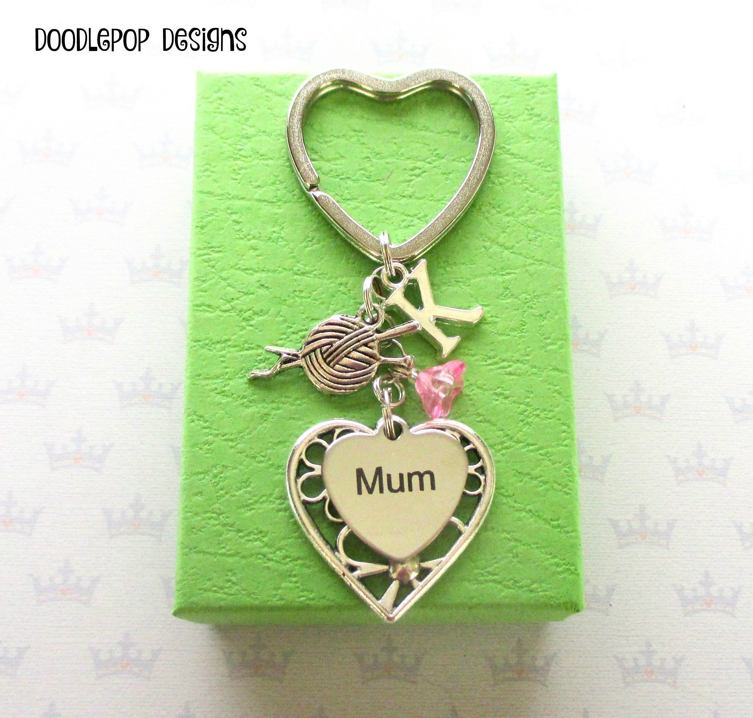 Knitting Gifts For Mum : Personalised mum keyring birthday gift for mother