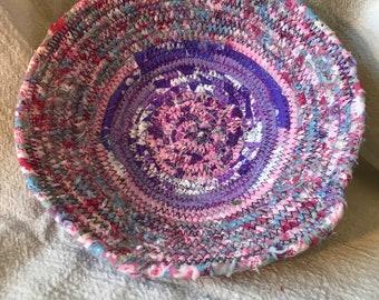 Fabric bowl purple/pink/white