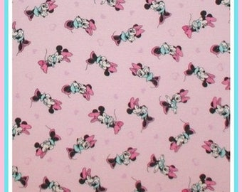 Minnie Mouse Pink Aqua Polka Dots Fabric