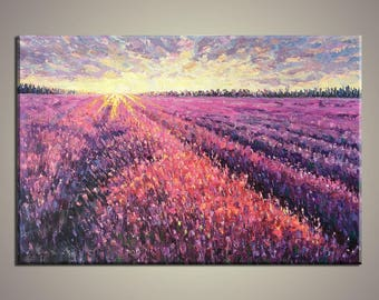 Oil Painting, Large Canvas Art, Large Landscape Painting, Contemporary Art, Rustic Wall Decor, Canvas Art, French Provence Lavender Field