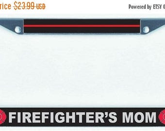 Black Metal License Plate Frame Thin Blue Line Reflective