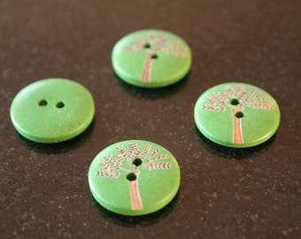 """10 """"tree"""" wooden buttons. (ref:2839)."""
