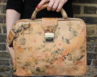 Doctor Bag Medium Tan Floral Leather
