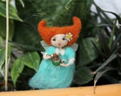 Needle felted redhair fairy  indoor plant decor, miniature garden ornament, succulent decoration
