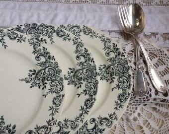 Set of 6 antique french forest green transferware dessert plates. Dark green transferware. Jeanne d'Arc living. French nordic decor.