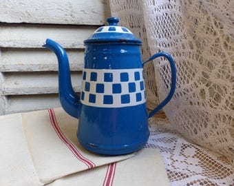 Antique french enamel coffee pot. French blue white checker enamel coffee pot. Art deco enamel. Blue white checkers. French country kitchen.
