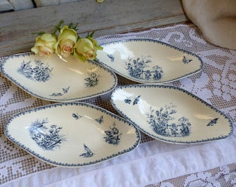 Set of 4 Antique french transferware side dish plates. Blue transferware plates. Navy blue. Butterflies Flowers. Hors d'oeuvres serving dish